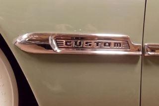 0A-16189 1950 Ford Shoebox Left Custom Fender Badge Stainless Molding