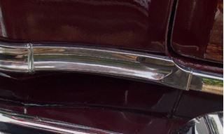 51F-RSTPDWNMLDG 1951 Ford Rear Quarter Panel Step Down Molding Driver Side Installed