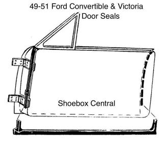8A-7620530-PR 1949 1950 1951 Ford Convertible Victoria Door Seals Rubber Weatherstripping