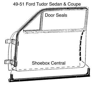 8A-7020530-PR 1949 1950 1951 Ford Tudor Sedan Coupe Door Seal Rubber Weatherstripping Kit