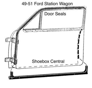8A-7920530-PR 1949 1950 1951 Ford Country Squire Woody Wagon Door Seal Rubber Weatherstripping Kit