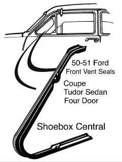 8A-7021448-PR 1950 1951 Ford Coupe Tudor Sedan Four Door Front Vent Wing Window Rubber Weatherstripping Seals