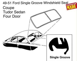 8A-7003110-E 1949 1950 1951 Ford Shoebox Single Groove Windshield Rubber Weatherstripping Seal Molding