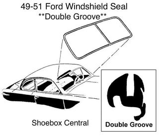 0A-7003110 1949 1950 1951 Ford Shoebox Double Groove Windshield Rubber Weatherstripping Seal Molding