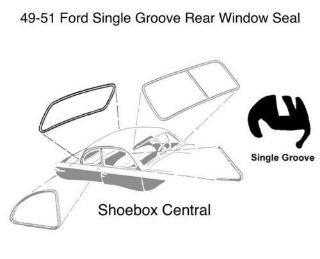 8A-7042084-D 1949 1950 1951 Ford Plain Rear Back Window Rubber Weatherstripping Seal Molding