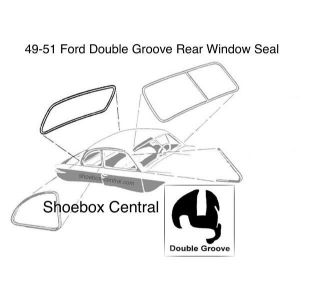 0A-7042084 1949 1950 1951 Ford Double Groove Rear Back Window Rubber Weatherstripping Seal Molding