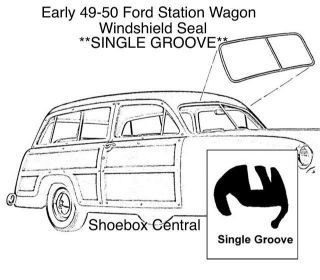 8A-7903110-A 1949 Early 1950 Ford Station Wagon Woody Country Squire Single Groove Windshield Rubber Weatherstripping Seal Molding