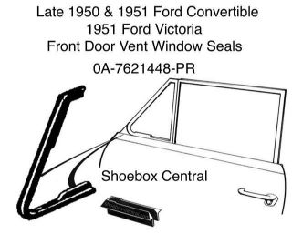 0A-7621448-PR Late 1950 1951 Ford Convertible Victoria Front Vent Wing Window Rubber Weatherstripping Seal molding