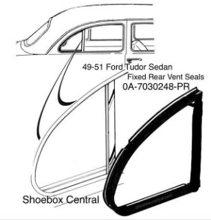 0A-7030248-PR 1949 1950 1951 Ford Tudor Sedan Rear Fixed Vent Window Rubber Weatherstripping Seals Molding