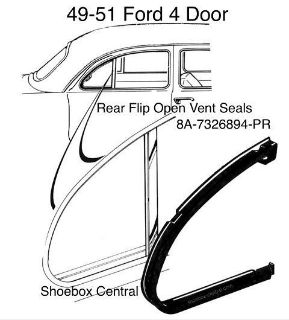 8A-7326894-PR 1949 1950 1951 Ford Four Door Rear Vent Wing Window Rubber Weatherstripping Seals molding