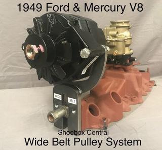 242 1949 Ford Mercury Flathead V8 Alternator Bracket Wide Belt Pulley GM 1 wire