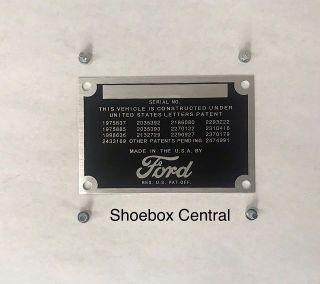 8A-14001 1949 1950 Ford Firewall Data Plate Vin Tag Serial