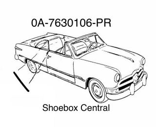 0A-7630106-PR 1950 Ford Convertible Front Edge Quarter Window Seal Rubber Weatherstripping