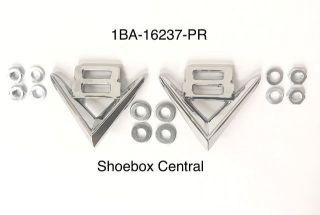 1BA-16237-PR 1951 1952 1953 Ford V8 Fender Badge Emblem Medallion Chrome