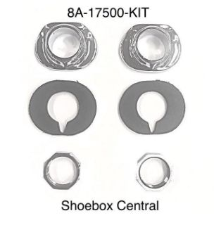 8A-17500-KIT 1949 1950 1951 Ford Wiper Tower Chrome Bezels Rubber Gasket Pads Nuts Kit
