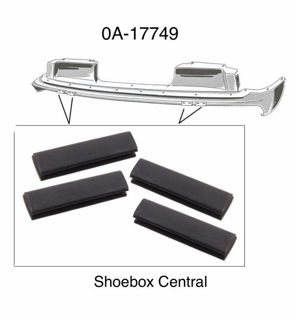 0A-17749 1950 Ford Front bumper arm bracket to lower grille splash pan rubber bumper anti rattler pad