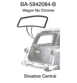 BA-5942084-B 1952 1953 1954 Ford Station Wagon Plain Back Rear Window Rubber Seal Weatherstrip No Chrome