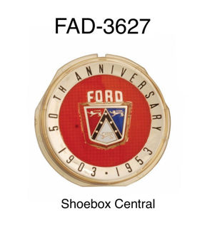 FAD-3627 1953 Ford Anniversary Horn Ring Button Emblem Badge Crest