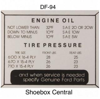 DA-94 1952-1954 Ford Engine Oil and Tire Pressure Decal