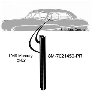 8M-7021450-PR 1949 Mercury Front Vent Wing Window Vertical Back Edge Seals Rubber Weatherstripping