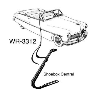 WR-3312 1949 1950 1951 Mercury Convertible Front Vent Wing Window Weatherstripping Rubber Seal